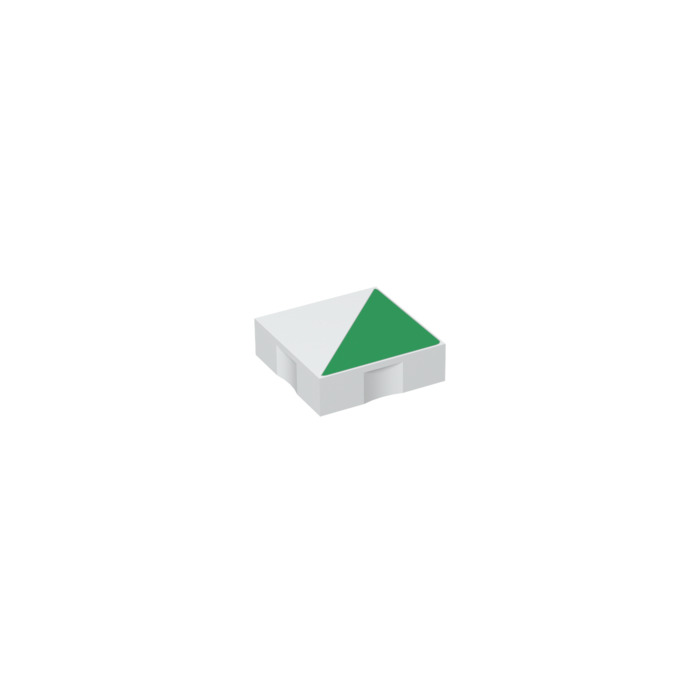 LEGO White Duplo Tile 2 x 2 with Green Right-angled Triangle (48786)