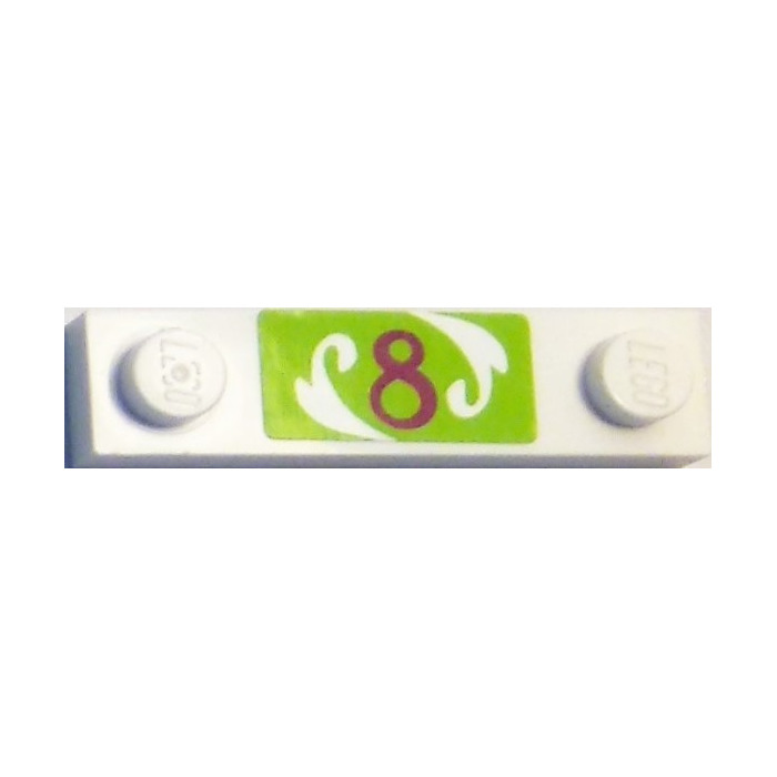 LEGO White Plate 1 x 4 with Two Studs with Number 8 on Green ...