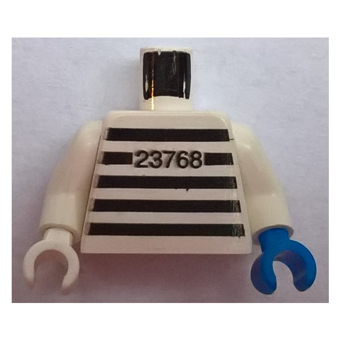 LEGO White Prisoner Torso with Black Strips and 23768 Pattern with White  Arms, Blue Left