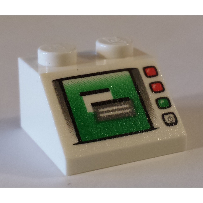 LEGO White 2x2 Decorated Minifigure Computer Screen Slope