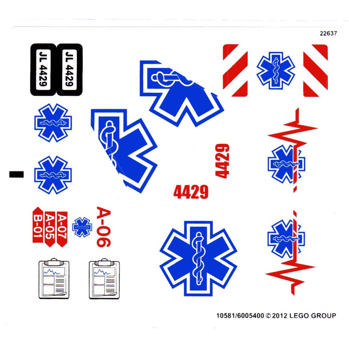 Lego white sticker sheet for set 4429 10581