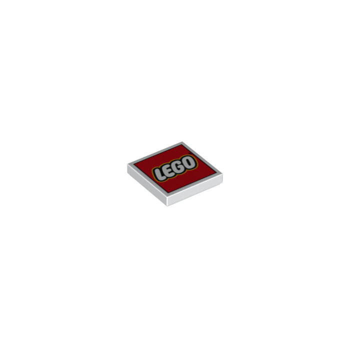 LEGO White Tile 2 x 2 with LEGO Logo on Red Decoration with Groove ...