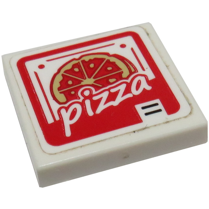 Lego White Tile 2 x 3 with Red and Green PIZZA Ad Pattern