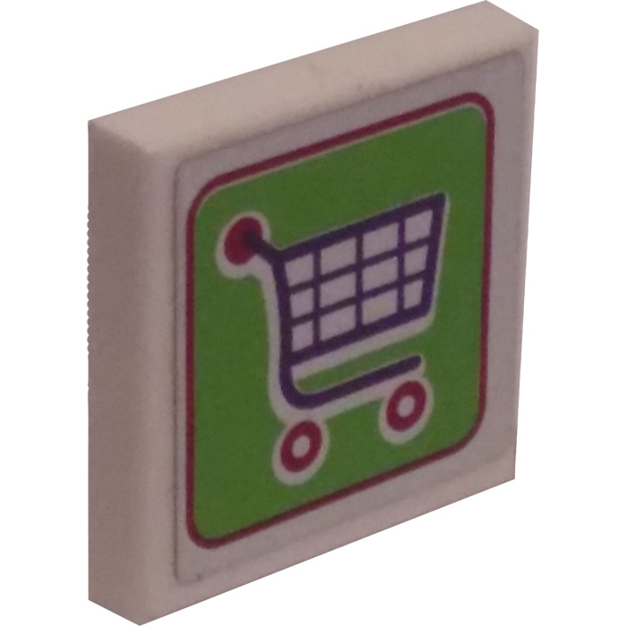 Lego White Tile 2 X 2 With Shopping Cart Sticker With Groove Brick Owl Lego Marketplace