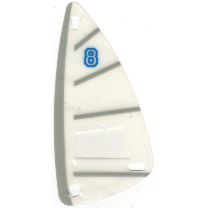 LEGO Windsurfer Sail 6 x 12 with Blue Number 8 and Gray Side Stripe ...