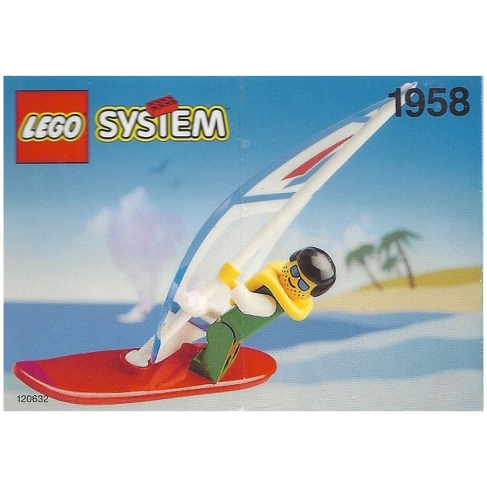 1x Minifig planche voile surf surfboard long vert citron//lime 6075 NEUF Lego