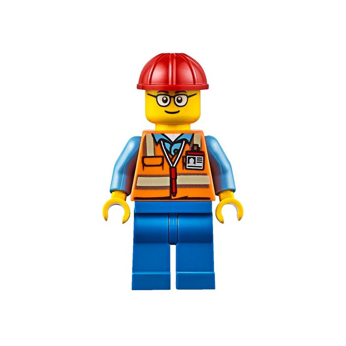 LEGO Worker With Safety Vest, Red Construction Helmet