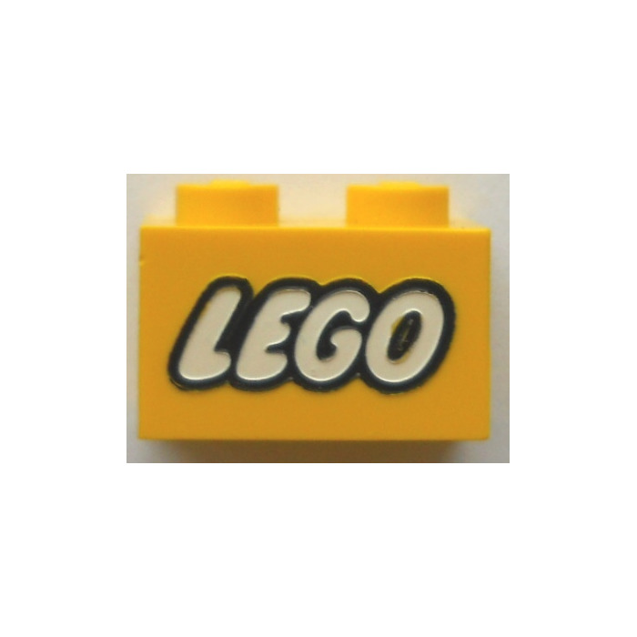 LEGO Yellow Brick 1 x 2 with LEGO Logo with Closed 'O' Decoration ...
