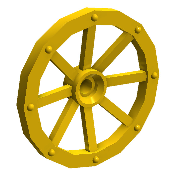 Lego yellow large wagon wheel mm diameter with notched