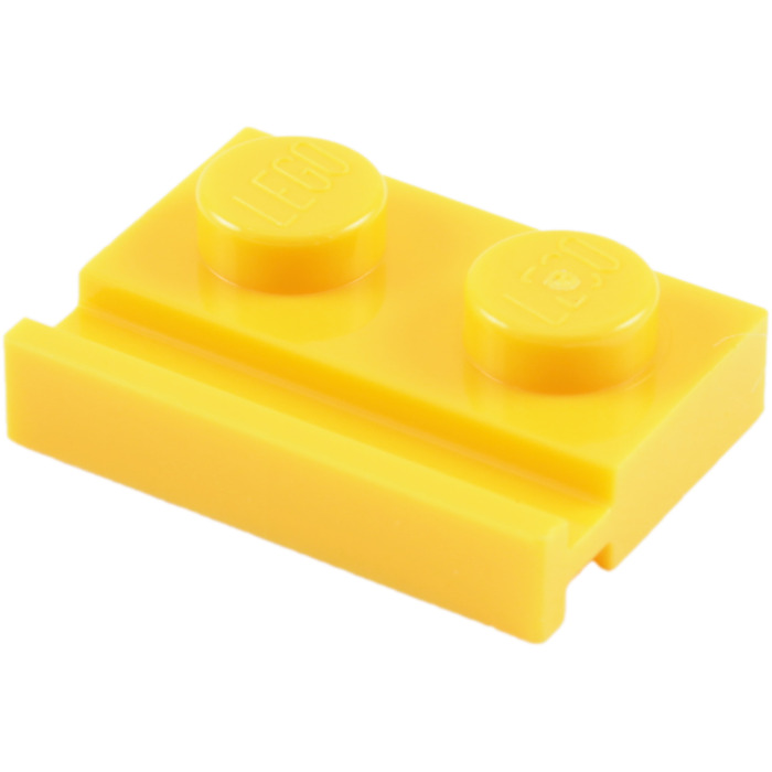 BRICK YELLOW QTY x 15 BRAND NEW LEGO 32028 PLATE WITH DOOR RAIL 1x2 LIGHT TAN