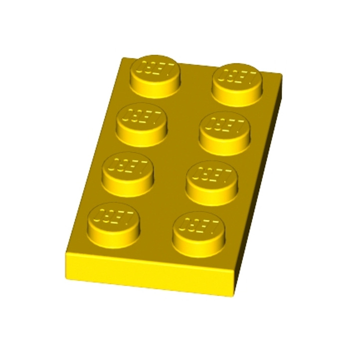 Yellow 3 X Lego 3020  Plate 2 x 4