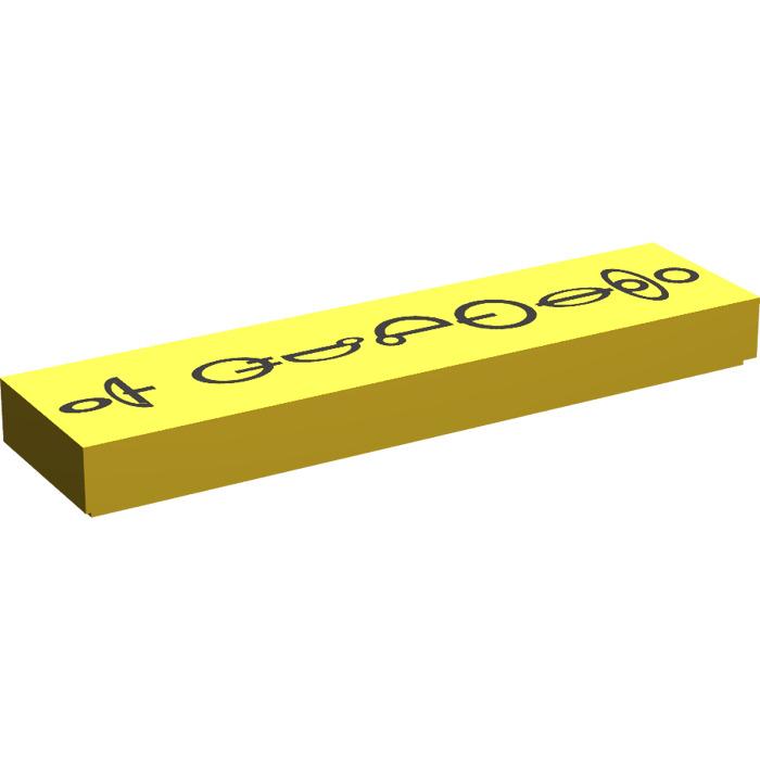 Lego Tile-Tile 1x4 with Decor Yellow Black 927 #