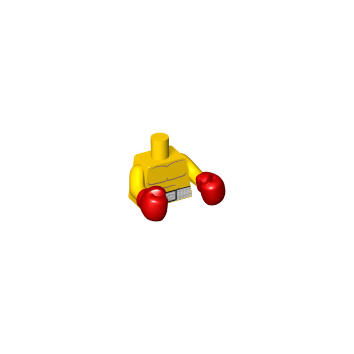 LEGO Yellow Torso with White Boxing Belt Pattern and Boxing Gloves ...