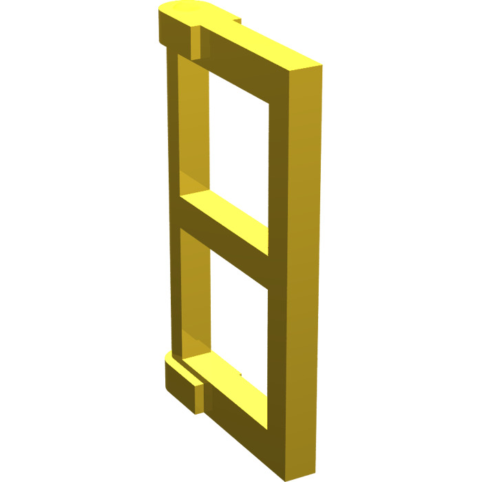 Lego yellow window 1 x 2 x 3 pane with thick corner tabs for 2 x 3 window