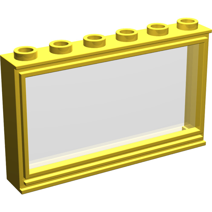 Lego yellow window 1 x 6 x 3 with pane 604 brick owl for 1 x 3 window