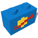Dag's Bricks Dag Brick 1x2 Brick with Classic Space logo (Blue) Instructions