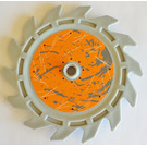 LEGO 14 Tooth Saw Blade with Scratched Orange Sticker (61403)