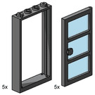 LEGO 1x4x6 Black Door and Frames with Transparent Blue Panes Set 3449