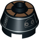 LEGO 2 x 2 Round Brick with Knob with Silver and Brown Astromech Droid Pattern (70252 / 98100)