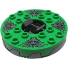 LEGO 6x6 Turntable with Bright Green Top and Stone Heads (98354)