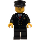 LEGO Airplane Pilot with Black Jacket, Red Tie, Black Legs, Glasses, and Black Hat Minifigure
