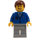 LEGO Airport Worker with Blue Jacket, White Shirt and Tie, Airplane Logo, ID Badge, Medium Stone Gray Pants, Smiling Face, and Reddish Brown Hair Minifigure