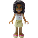 LEGO Andrea, Tan Shorts, White Top Minifigure