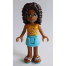 LEGO Andrea with Medium Azure Shorts and Bright Light Orange Top Minifigure