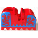 LEGO Animal Horse Barding with Red Dragons on Blue Background (2490)