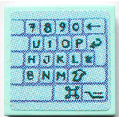 LEGO Aqua Tile 2 x 2 with Keyboard (Right Part) Sticker with Groove