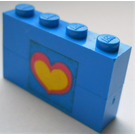 LEGO Assembly of 2 blue bricks 1 x 4 with heart sticker from Set 275