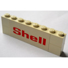 LEGO Assembly of 2 bricks 1 x 8 with 'Shell' sticker on opposite sides (Set 377)