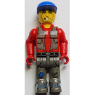 LEGO Bank Robber with Dark Gray Legs and Red Shirt Minifigure