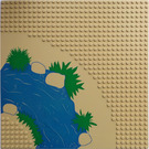 LEGO Baseplate 32 x 32 Road with Curve and Blue and Green River