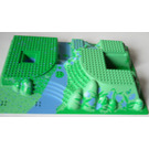LEGO Baseplate 32 x 48 x 6 Raised with Steps and Medium Blue / Green Garden Pattern