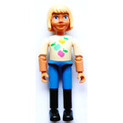 LEGO Belville Girl with Apples on White Shirt, Blue Pants, Black Riding Boots Minifigure