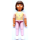 LEGO Belville Girl with Dark Pink Flowers and Green Leaves on Yellow Shirt, Pink Pants Minifigure