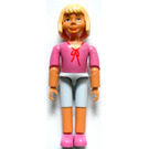 LEGO Belville Girl with Dark Pink Top with Red String Bow, Light Violet Shorts Minifigure