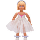 LEGO Belville Girl with White Swimsuit and Three Dark Pink Bows Pattern, Light Yellow Hair Minifigure