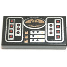 LEGO Black 1 x 2 Tile with Orange, Red, and Silver Avionics Pattern with Groove (42125)