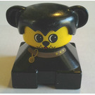 LEGO Black 2x2 Duplo Base Figure - Dog with black hair and ears, Yellow Head and Brown Collar pattern Duplo Figure
