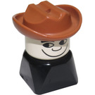 LEGO Black 2x2 Duplo Base Figure - Fabuland Brown Cowboy hat and White head Duplo Figure