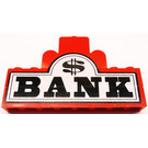 LEGO Black 'BANK' and Dollar Sign on White Background Sticker over Assembly