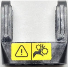 LEGO Black Beam 3 with Axle Holes on Ends and Fork with warning sign pattern Sticker