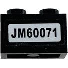 LEGO Black Brick 1 x 2 with JM60071 Sticker