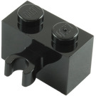 LEGO Black Brick 1 x 2 with Vertical Clip (Open 'O' clip) (30237 / 42925)