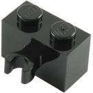 LEGO Black Brick 1 x 2 with Vertical Clip (thick open 'O' clip) (30237 / 95820)