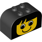 LEGO Black Brick 2 x 4 x 2 with Curved Top with Yellow Face (81781)