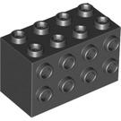 LEGO Black Brick 2 x 4 x 2 with Studs on Sides (2434)