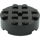 LEGO Black Brick 4 x 4 Round with Hold (87081)